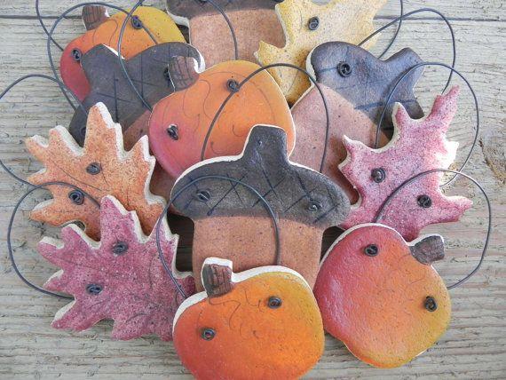 Fall Salt Dough Ornaments Set of 12 Pumpkins, Acorns and Leaf Party Favors / Napkin Rings