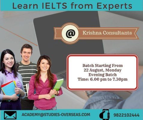 Join #IELTS Coaching @ Krishna Consultants and be confident with your English abilities. Call : 9822102444.