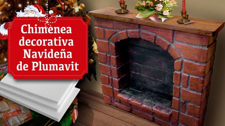 Chimenea decorativa navide a de plumavit curiosidades - Chimeneas artificiales ...