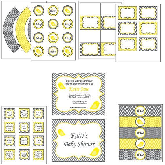 Chevron komplette Vogel Baby-Dusche - Sie wählen, gelb, blau oder Pink - grau 8 druckbare PDF-Dateien