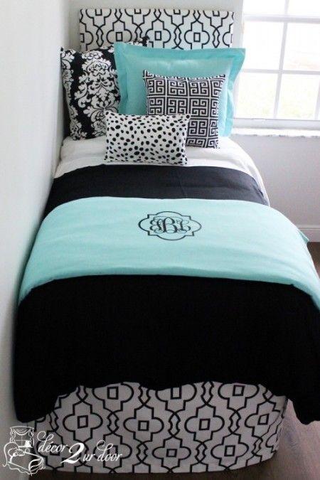 Tiffany Blue and Black Custom Bedding   Sorority and Dorm Room Bedding