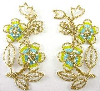 "Flower Pair with Yellow and turquoise and Gold Beads and AB Rhinestones 5"" x 2.5"""