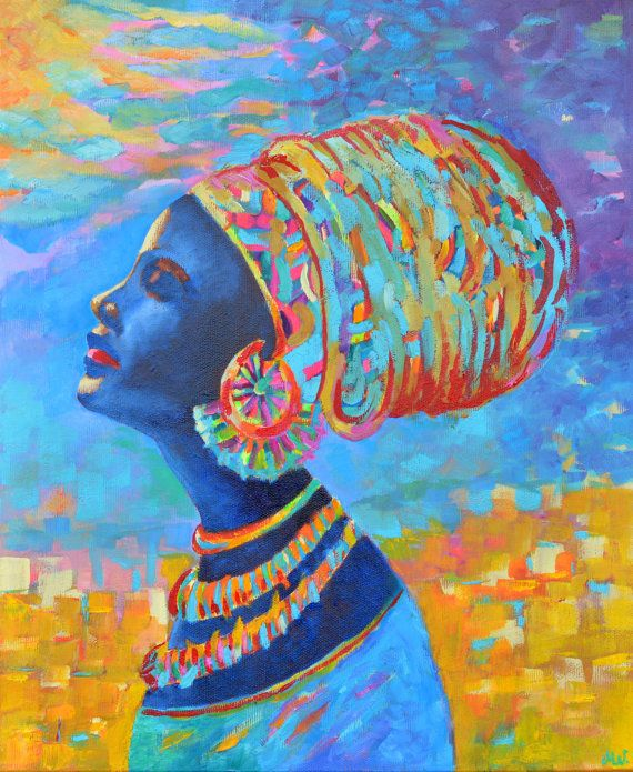 Black woman painting. African woman in beautiful by TanabeStudio