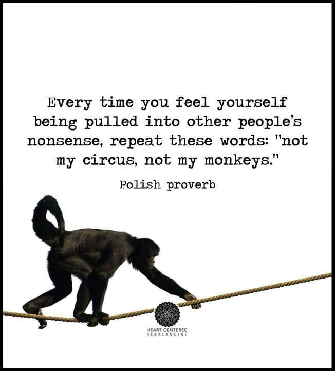 "Every time you feel yourself being pulled into other people's nonsense, repeat these words: ""not my circus, not my monkeys."" Inspirational quotes"