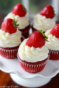 Strawberry Red Velvet Cupcake-uses boxed red velvet cake mix blended with fresh strawberries and topped with cream cheese frosting
