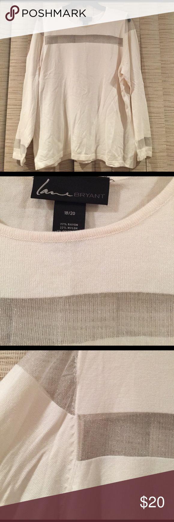 Beautiful cream sweater w/sheer stripes 18/20 Beautiful cream sweater w/sheer stripes 18/20 long sleeve lane bryant sweater has sheer cream stripes at chest shoulders and cuffs Lane Bryant Sweaters Crew & Scoop Necks