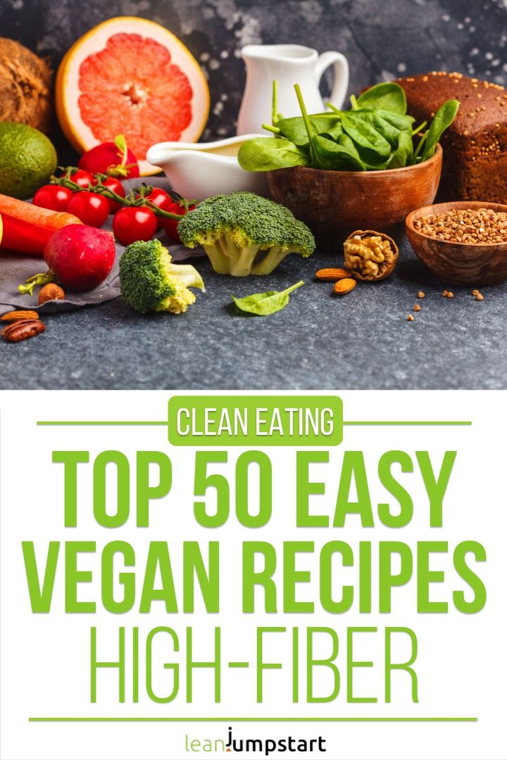 Top 15 easy vegan recipes that are clean and mostly high in fiber #veganrecipes #veganmeals #highfib…