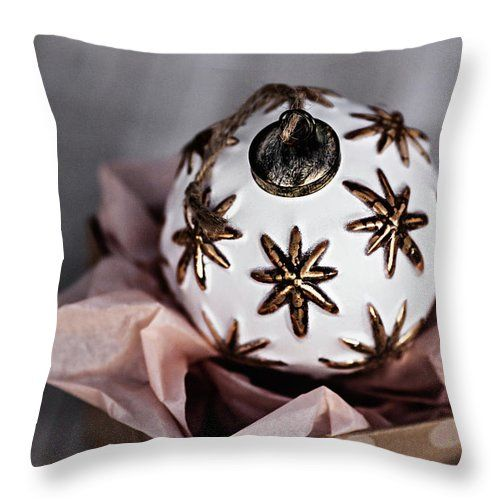 Throw Pillow featuring the photograph White Christmas Ball by Evgeniya Lystsova. Single White Christmas Ball Sitting in the Present Box, Winter Holiday Concept, Top View. Make Christmas Magic. More styles for your Home Decor you can find in my gallery. Our Throw Pillows are made from 100% spun polyester poplin fabric and add a stylish statement to any room. Each Pillow is printed on both sides (same image) and includes concealed zipper. #ThrowPillow #Christmas #Decorations #InteriorDesign…