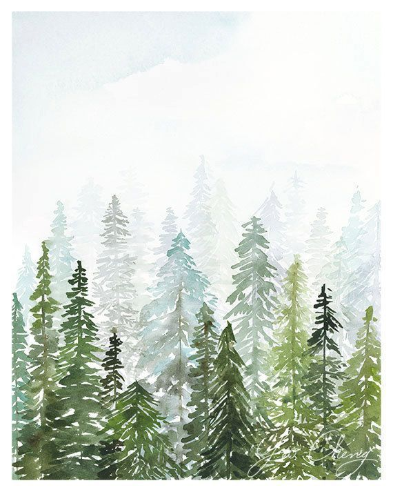 Evergreen Watercolor Art Print By Yaochengdesign On Etsy
