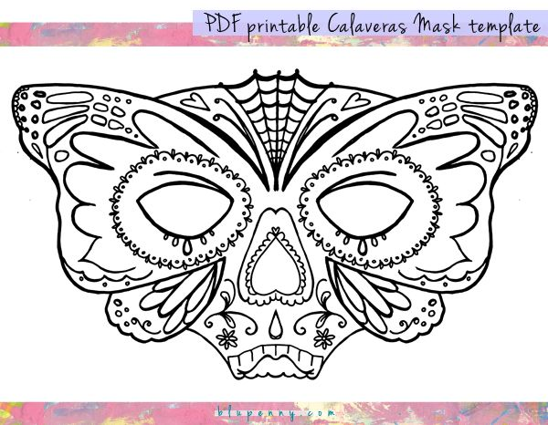 Homemade craft connection day of the dead calaveras for Day of the dead skull mask template