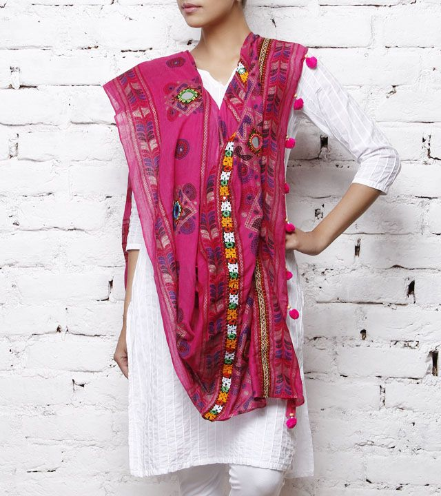 Pink Cotton Dupatta with Kutch Embroidery.