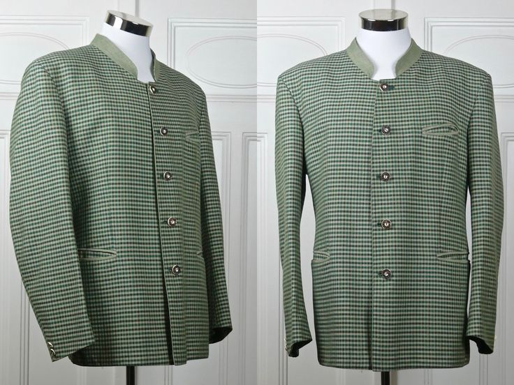 Vintage Trachten Jacket, Austrian Green Check Wool-Linen Blend Octoberfest Janker Jacket, Bavarian Hunting Blazer: XL, Size 44 US/UK by YouLookAmazing on Etsy