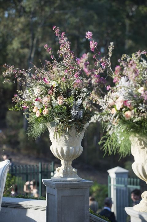 Ceremony Flowers / Oversized Urns / Andrew & Tegan's French Country Wedding