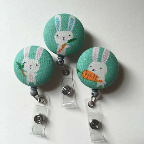 Bunny ID Badge Holder Retractable in Cute Bunnies by kuddlebumz