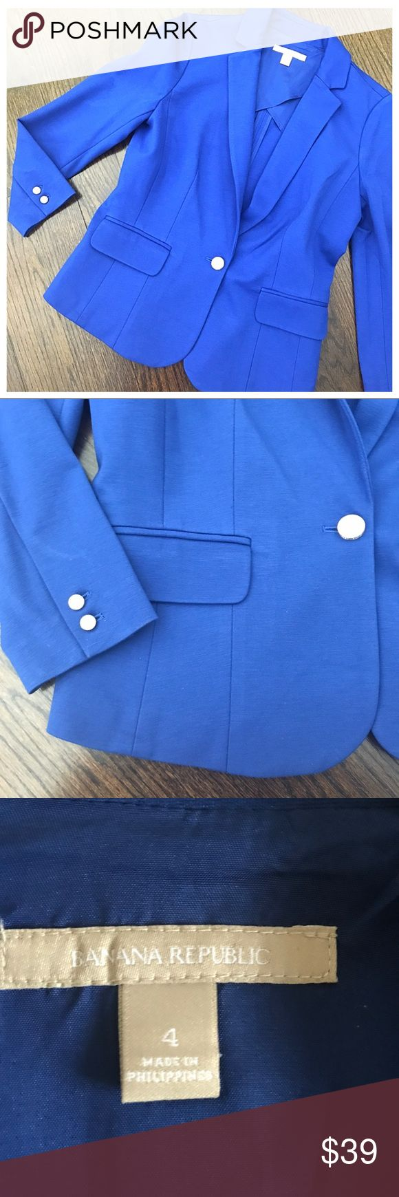 Banana Republic Blue & Silver One Button Blazer Banana Republic blue one button blazer. Worn once, like new condition. Silver buttons. Size 4, fits like a 2/4. Banana Republic Jackets & Coats Blazers
