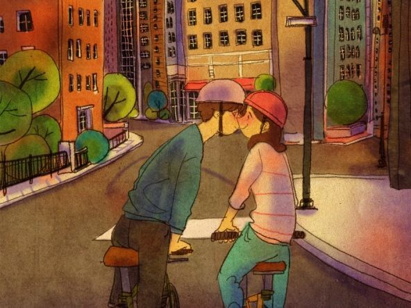 "Puuung ""It's adorable when we stop riding our bikes just for you to give me a kiss"""
