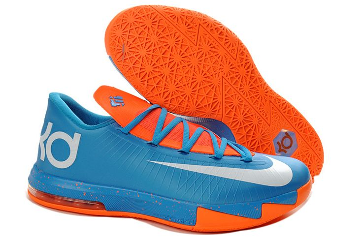 Nike Zoom Kevin Durant KD 6 Blue White Orange Basketball Shoes | Nike  Basketball Shoes |