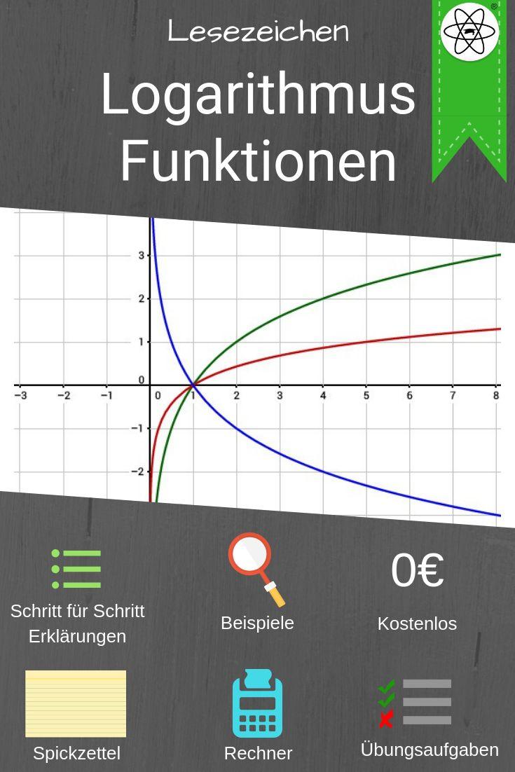 Lesezeichen zur Erklärung von Logarithmus Funktionen. Einfach Mathe ...