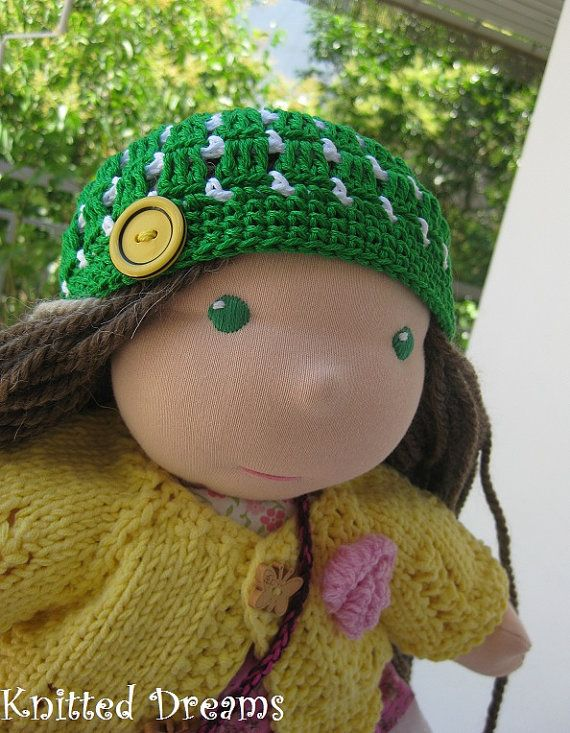 Waldorf dolls clothes: Green hand crocheted hat  for by tatocka