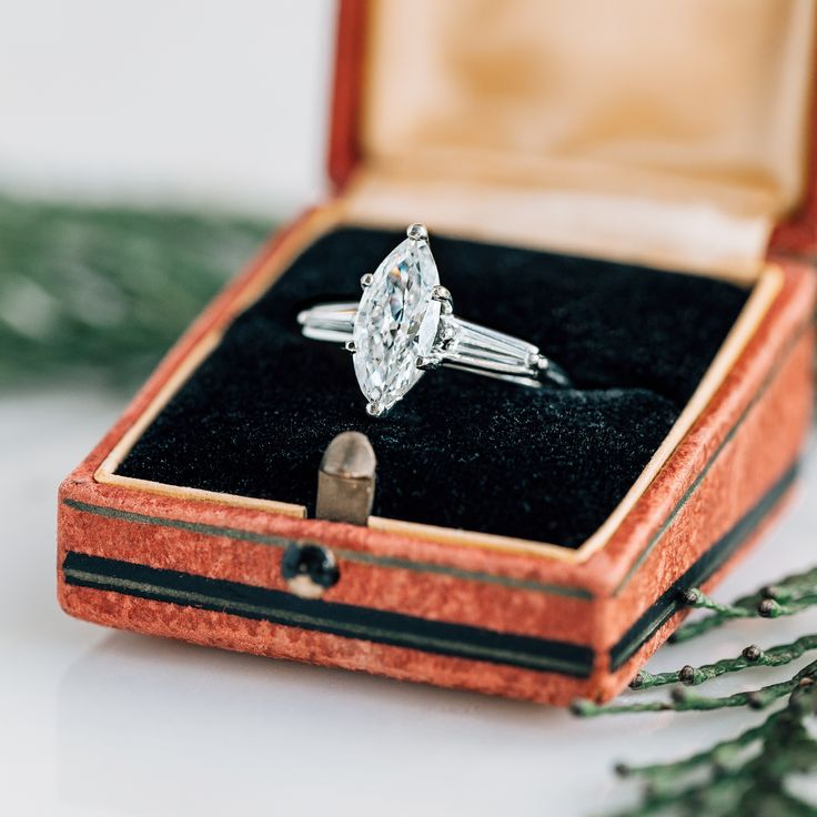 Mid-century Marquise Cut engagement ring perfect for the holidays. Whitefield from Trumpet & Horn // $12,250