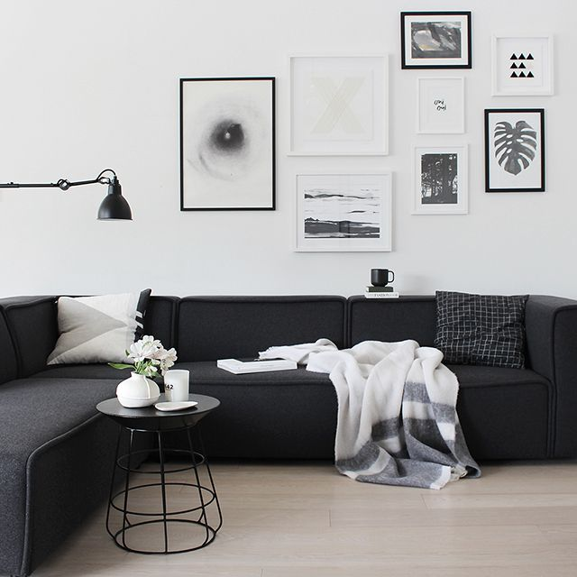 Best 20 black couch decor ideas on pinterest - Black and white and grey living room ...