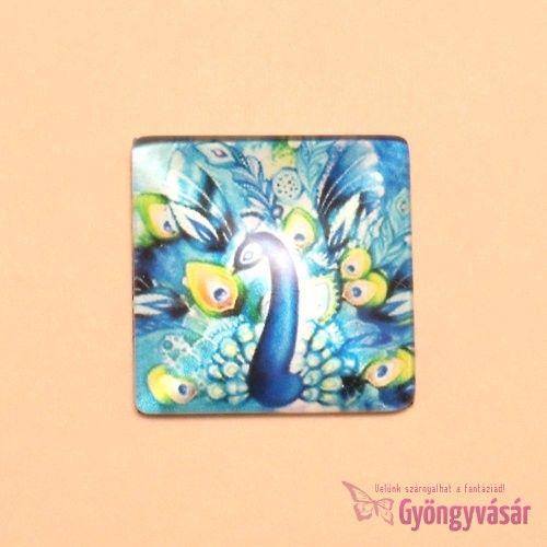 Páva mintás, négyzet alakú, 25 mm-es üveglencse • Gyöngyvásár.hu