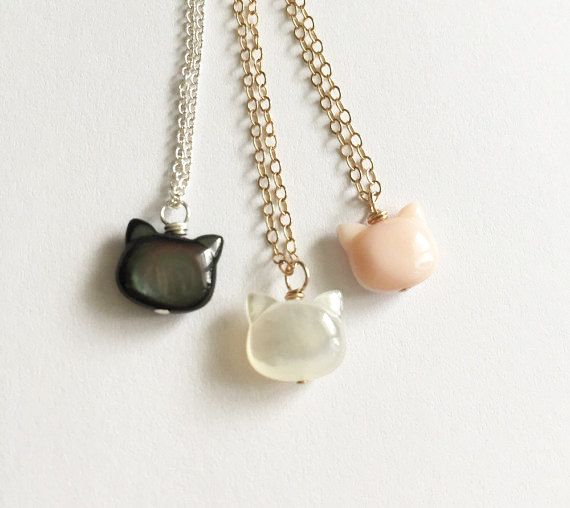 Mother of Pearl Cat Necklace - Tiny Cat Necklace - Cat Pendant - Cat Lovers - Pet Jewelry - Layering Jewelry - Animal Lover Gift - Cat Gift