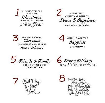 card sentiments | Sentiments for the Inside of Christmas Cards