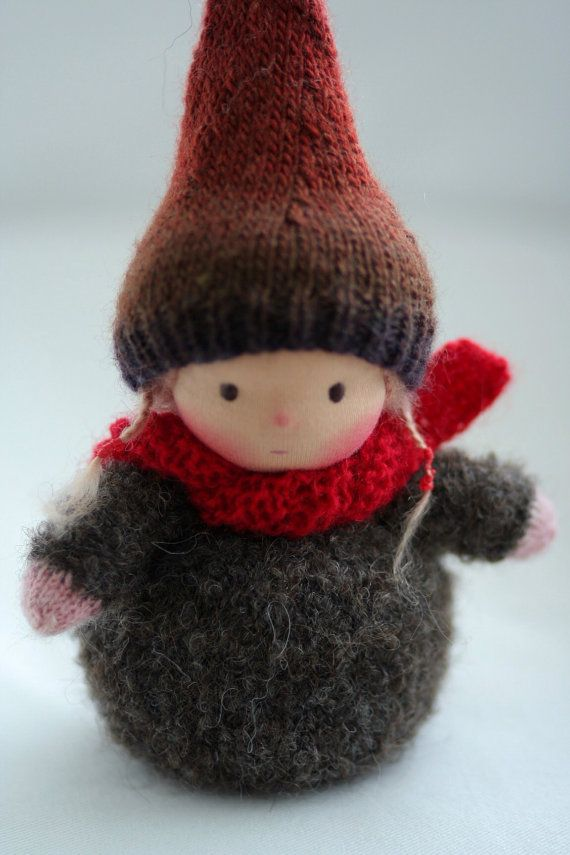 Knitted Waldorf gnome doll 6 by Peperuda dolls by danielapetrova