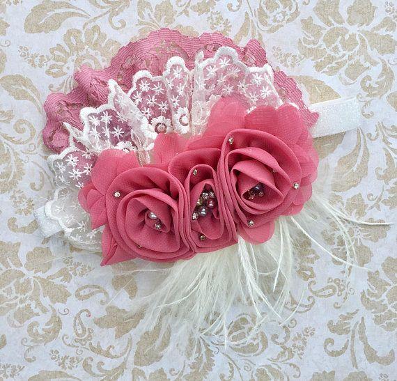 Cameo/Dusty Rose/rosa/malva fiore fascia fascia stile