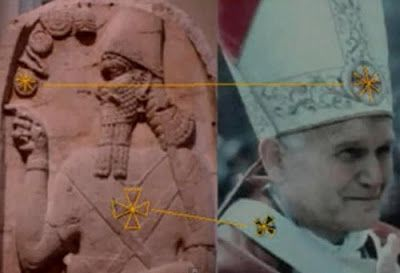 """Catholic Pope, wearing the same emblems as the Babylonian Deity. That's why false religion is referred to in the Bible as """"BABYLON THE GREAT!""""  Revelations 18th chapter"""