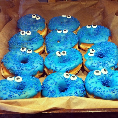 Cookie Monster donuts but you can make any kids shows characters.