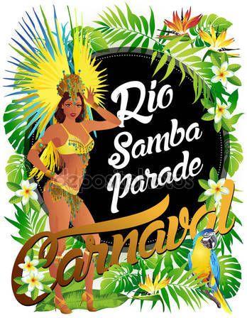 Скачать - Бразильская самба танцор. Красивый карнавал девушка в костюме фестиваля костюм танцы — стоковая иллюстрация #135784466