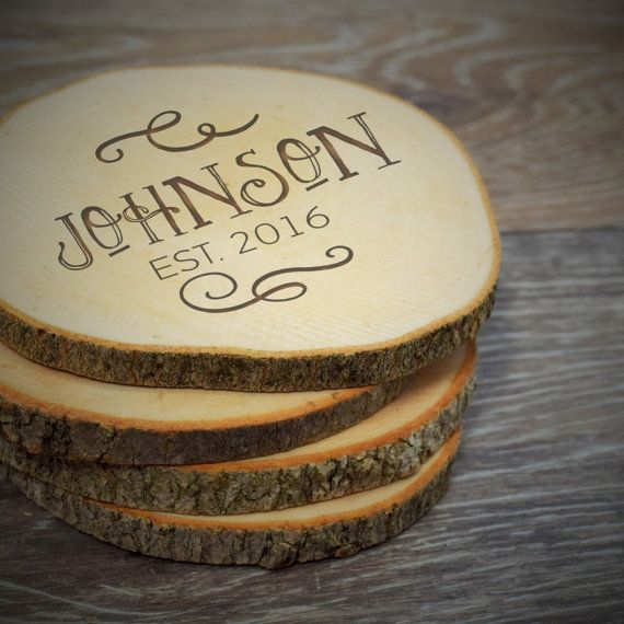 Personalized Wood Slice Coaster Family Name by PersonalizedGallery