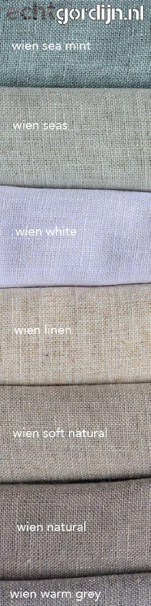 """Wien is mooie grove inbetween gordijnstof met echt linnen. Mooie warme structuur. En wil je deze stof """"zien & voelen""""? Vraag dan gratis stalen aan via de site.."""