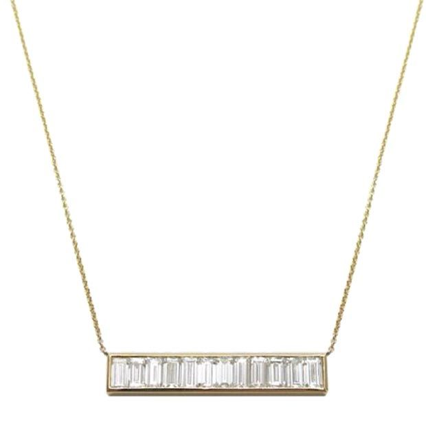 Diamond baguette bar necklace by Jennifer Meyer Jewelry