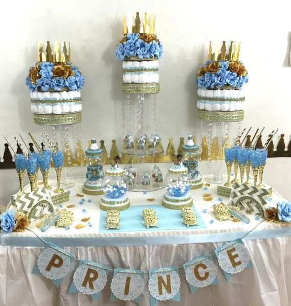 Little Prince Baby Shower Candy Buffet Diaper Cake Centerpiece with Baby Shower Favors / Boys BABY BLUE & GOLD Prince Theme and Decorations