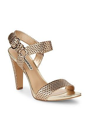 79d8e8f8ec9 Karl Lagerfeld Paris Cieone Textured Metallic Leather Sandals  Fashion-forward sandals crafted from fine leather Self-covered heel