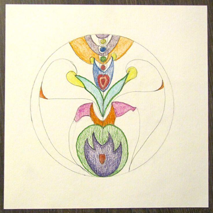 Spiegelen is één van de vaste onderdelen bij het mandala tekenen. In Schijndel hebben we de basisprincipes beoefend.