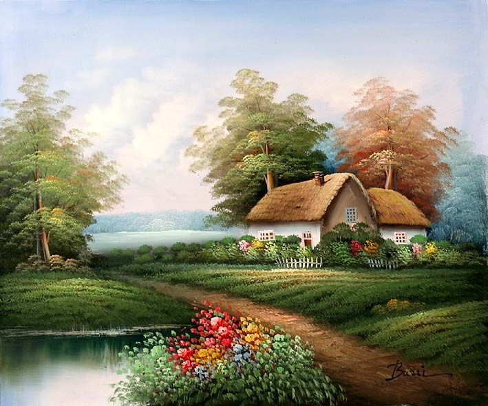 English Country Cottage Oil Paintings,English Country
