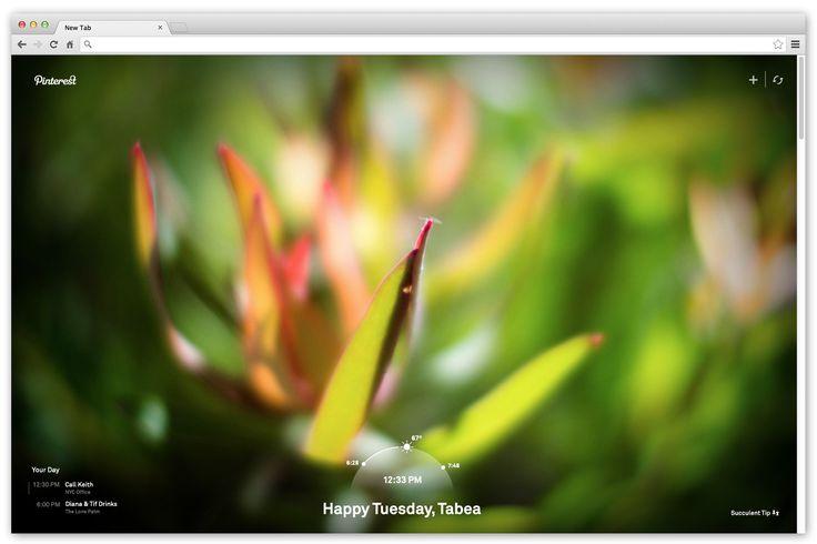 Quando se abre uma nova aba no Google Chrome, encontra-mos uma caixa de pesquisa e os sites recentemente visitados… Pois bem, o Pinterest lançou uma extensão para o Chrome, que lhe permite escolher os seus interesses e, sempre que abrir uma nova aba, esta nova extensão irá trazer-lhe sempre uma imagem inspiradora diferente.