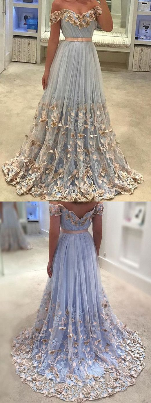 A-line Off-Shoulder Sweep Train Tulle Prom Dresses With Butterflies ASD26746 #promdresses #vintage #butterfly #unique #long #specials