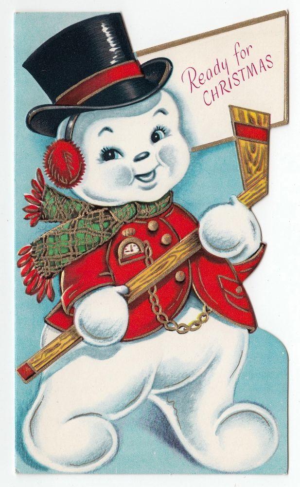 UNUSED Vintage Greeting Card Christmas Snowman Hockey Stick ...
