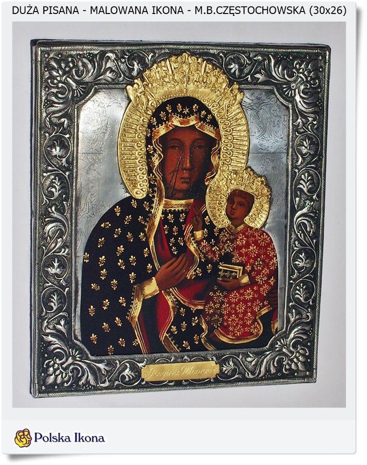 Ręcznie malowana - pisana Ikona Matka Boska Częstochowska 20x16cm Hand made Poland
