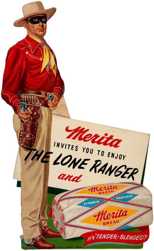 """MERITA INVITES YOU TO ENJOY THE LONE RANGER"" STORE STANDEE."