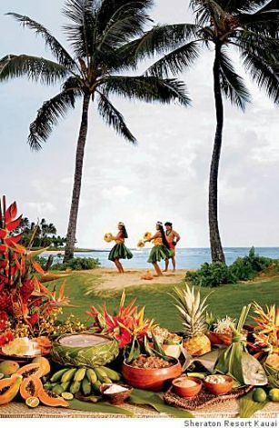 Luau at the Sheraton Kauai Resort in Poipu, Kauai.