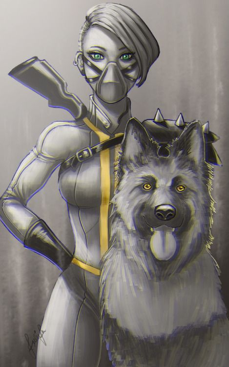 A Girl and her Dog by Julie-Ju  fallout fallout dog dogmeat fallout girl fallout girl with dogmeat