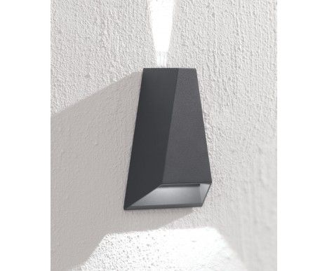 $129   LEDlux Vice 6W Triangle Up/Down Exterior Wall Bracket in Charcoal   Outdoor Lighting   Lighting