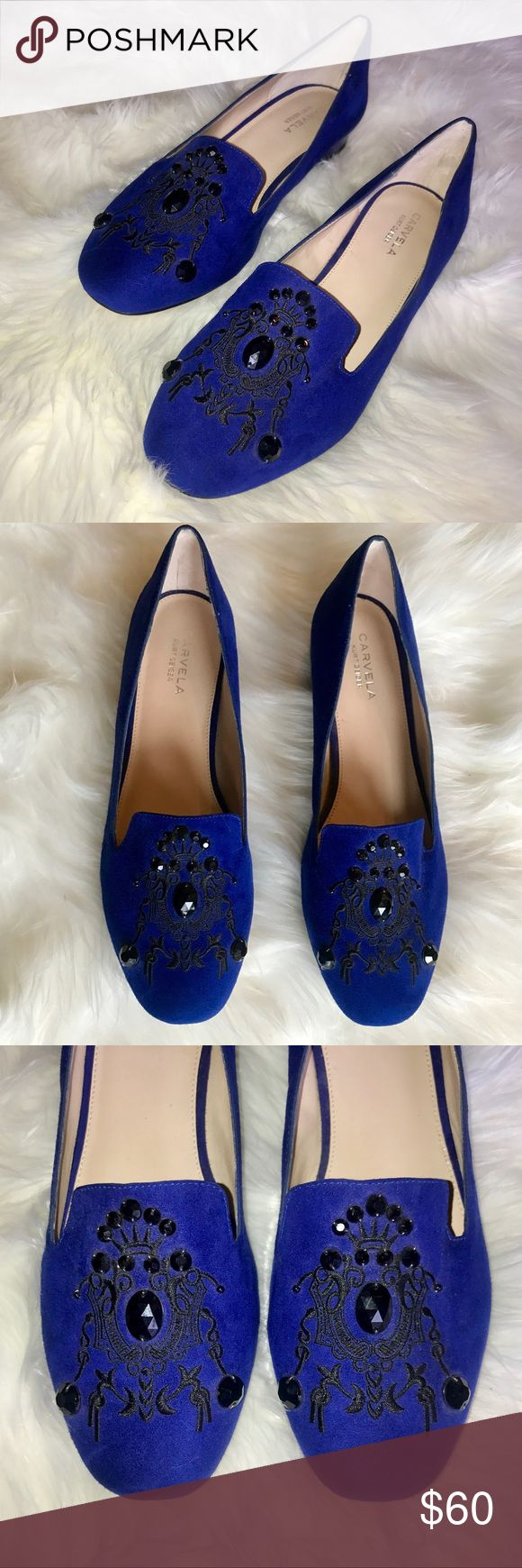 Carvela Kurt Geiger Women's Blue Suede Flats Carvela Kurt Geiger Flats Blue Suede Black embellished design  Women's Size EURO 41 (fits more US 10.5) Worn Once  EXCELLENT CONDITION SHIPS TOMORROW Kurt Geiger Shoes Flats & Loafers