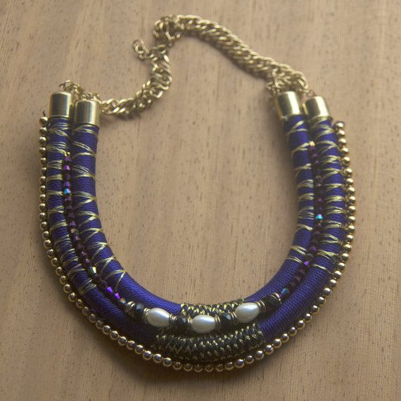 Blue and gold  bead and thread choker necklace  by Shimmeria